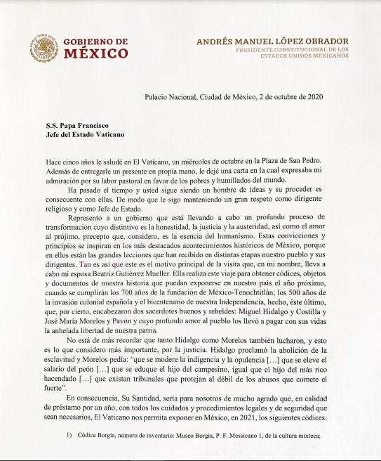 Esta es la carta que Beatriz Gutiérrez Müller le entregó al Papa de parte de AMLO