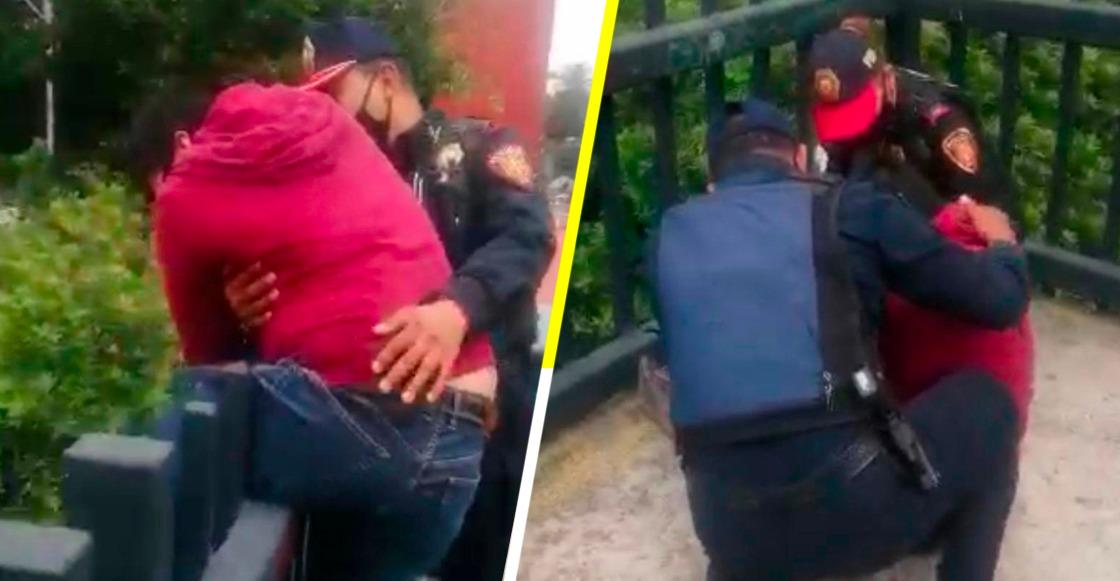 Llegaron a tiempo: Policías evitan que joven se arroje de un puente en la CDMX