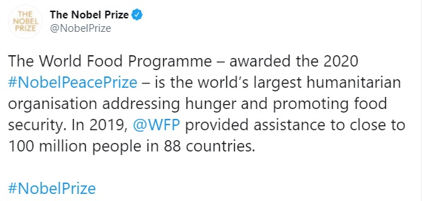 Programa Mundial de Alimentos NObel de la PAz