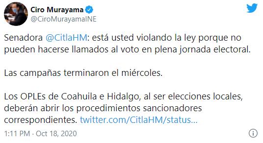 """Consejero del INE """"regaña"""" a Citlalli Hernández por pedir votos para Morena en día de elecciones"""