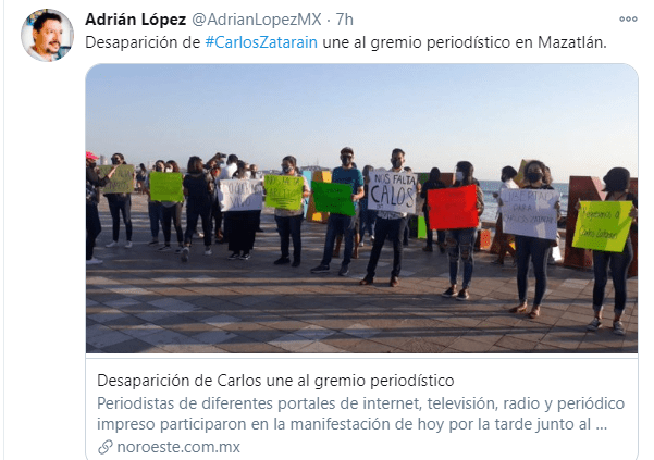 Portesta secuestro Carlos Zatarain