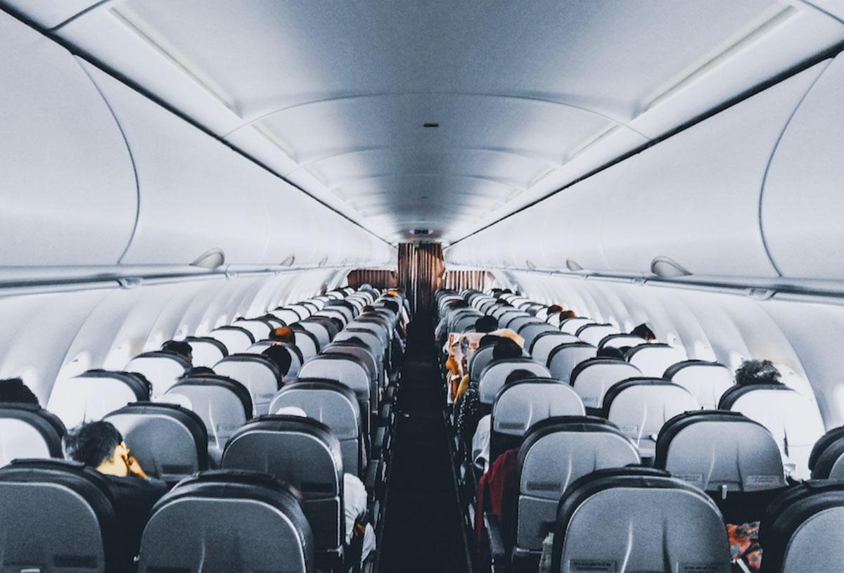 Cabina de avion sanitizada