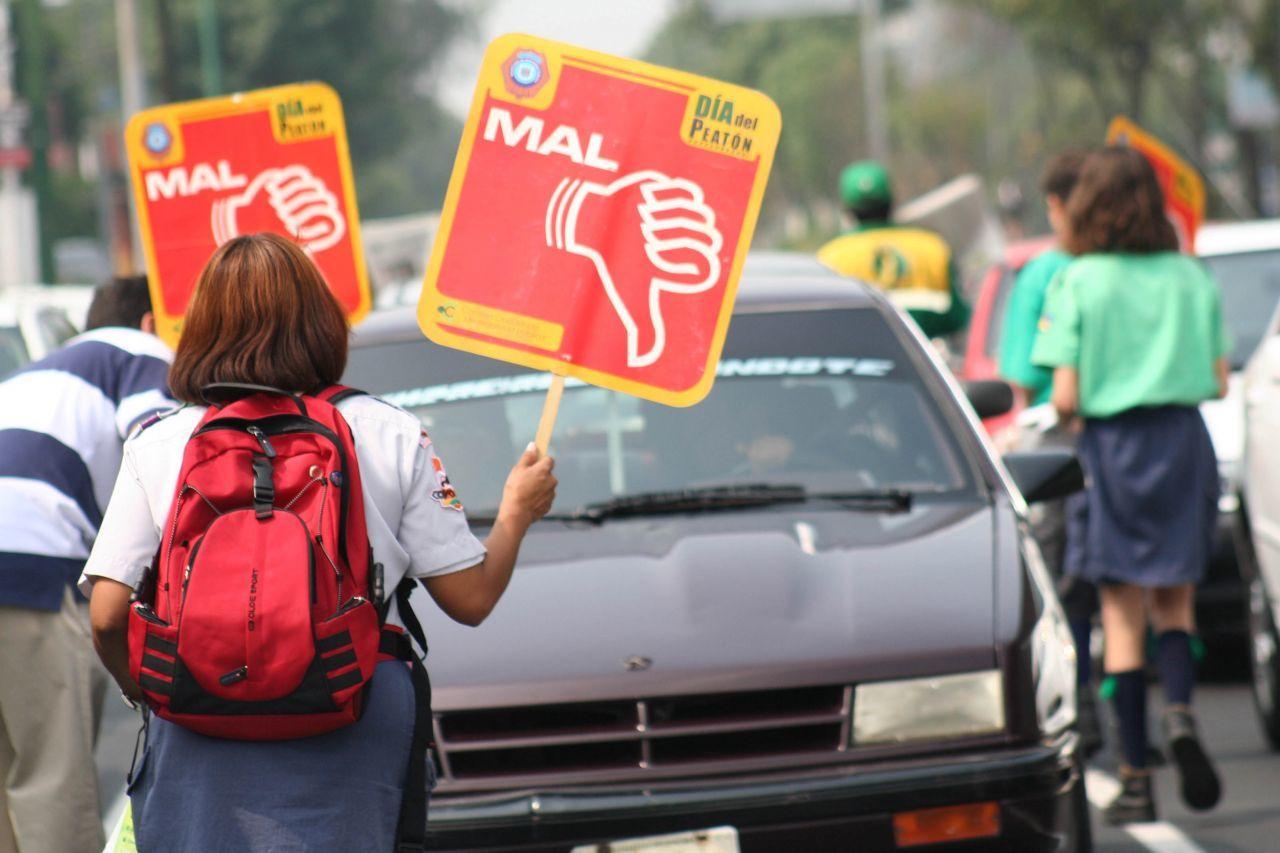 MÉXICO, D.F., 29ABRIL2007.- Boy Scouts mostraron carteles felicitando o reprobando a los conductores que respetan el reglamento de tránsito, durante la celebración del Día del Peatón sobre avenida Insurgentes.