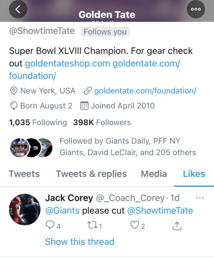 Esto es lo que tienes que saber del caso Golden Tate con los Giants