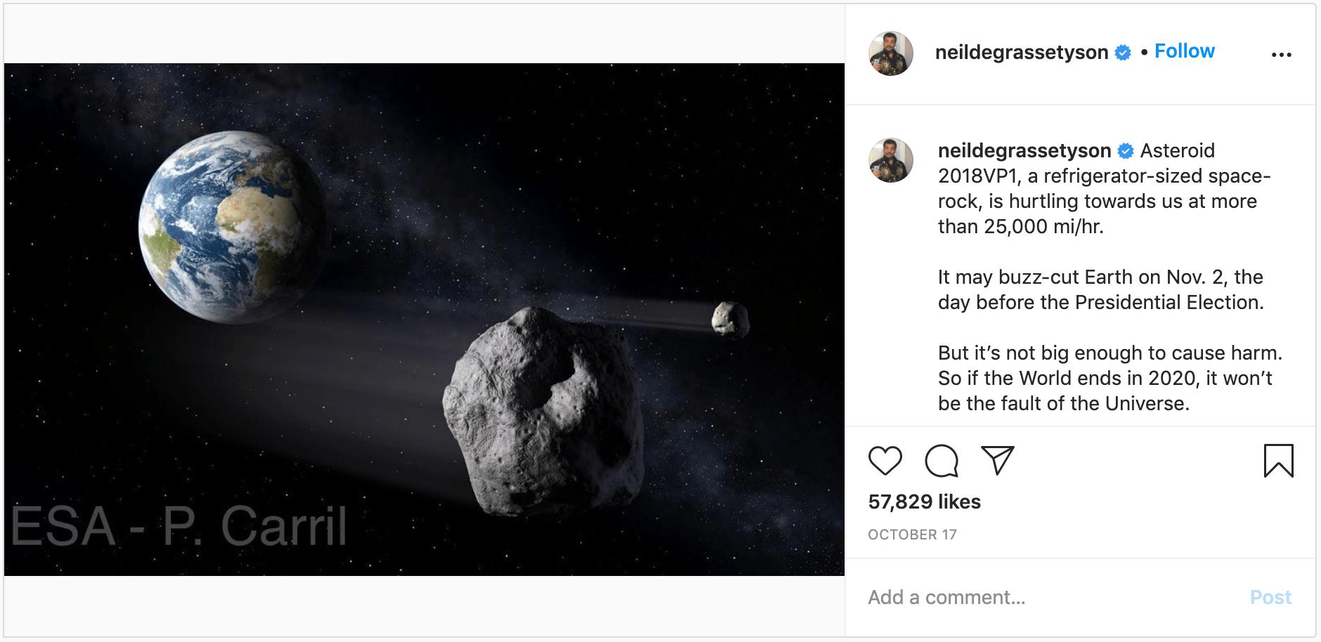 """Neil deGrasse Tyson predice """"meteorito"""""""