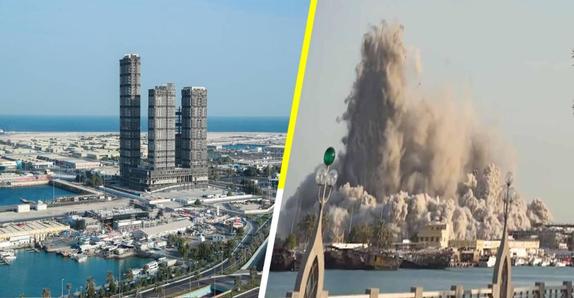 ¡Kaput! Demolición controlada en Abu Dabi, termina con rascacielos en 10 segundos