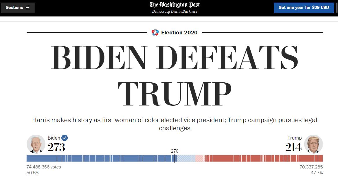 Así dieron a conocer los medios internacionales el triunfo de Joe Biden