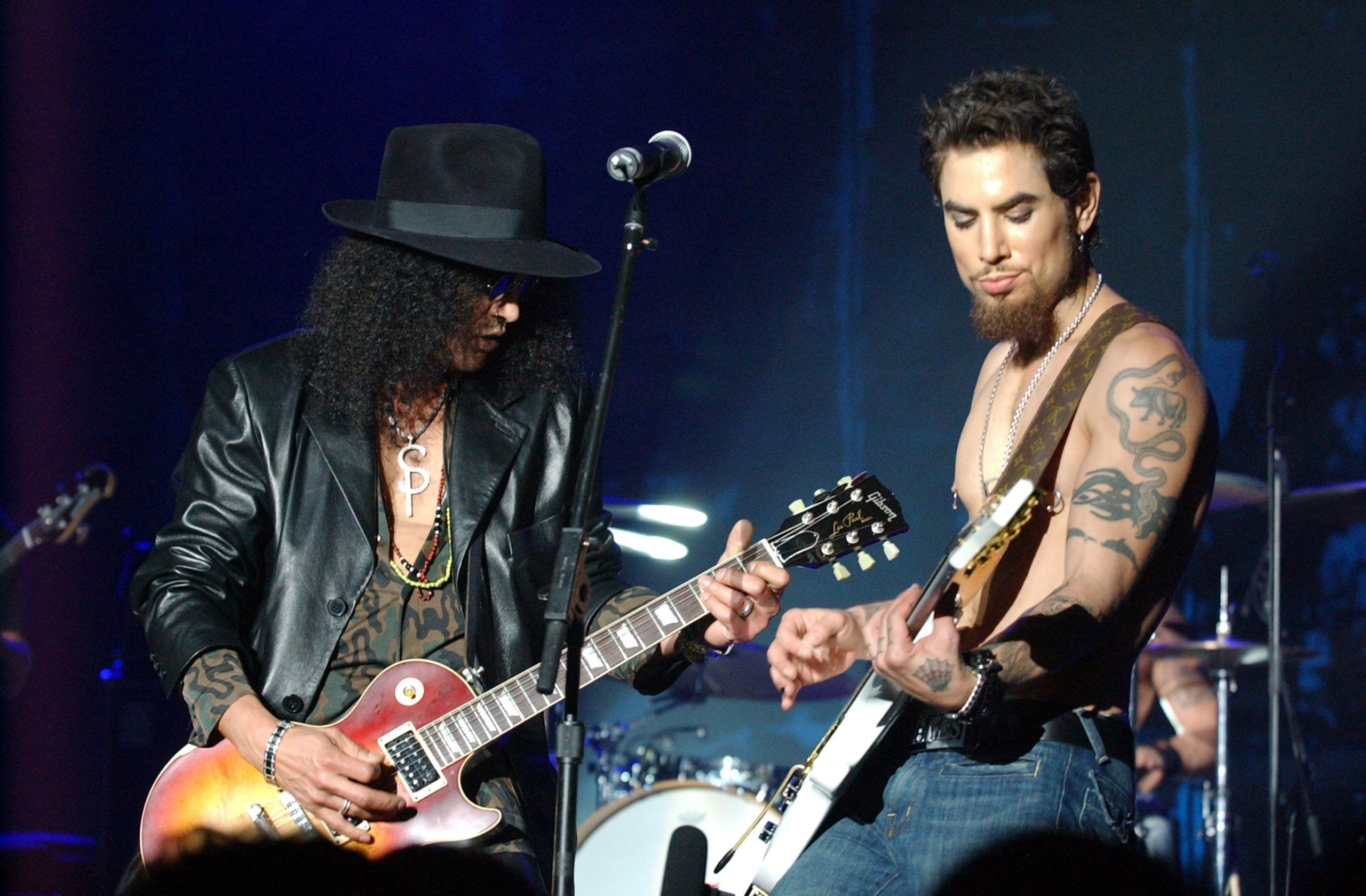 Slash and Dave Navarro during MTV Rock The Vote 10th Annual Patrick Lippert Awards at Roseland Ballroom in New York, NY, United States. (Photo by Jeff Kravitz/FilmMagic)