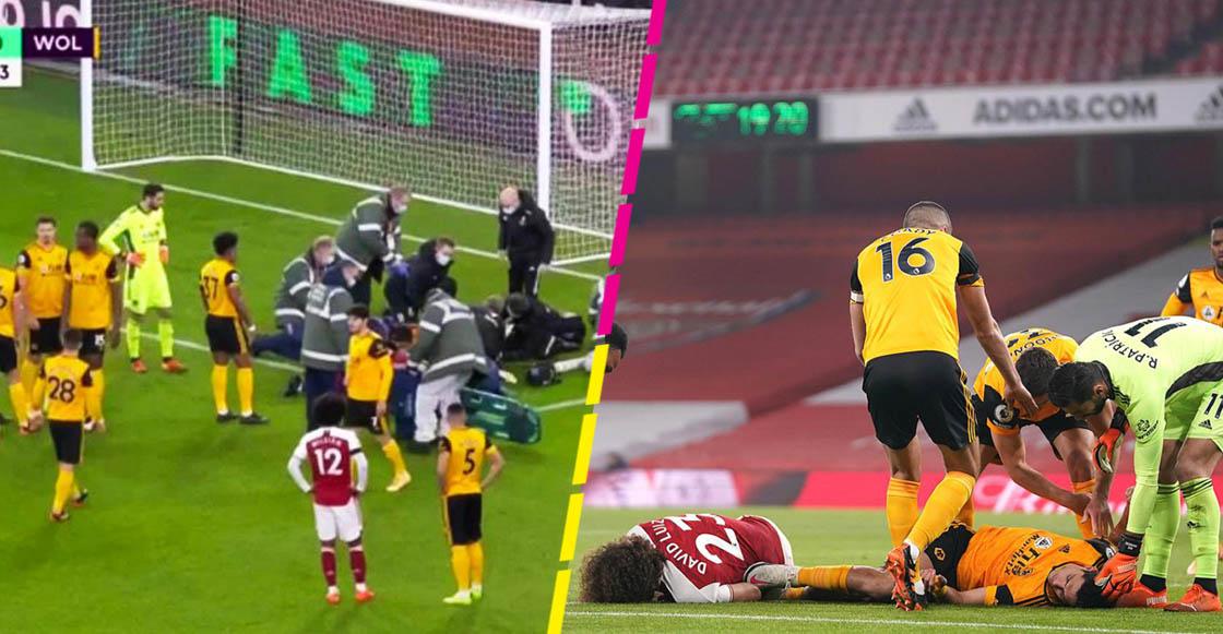 ¡Fue brutal! El impacto de Raúl Jiménez con David Luiz que lo hizo salir en camilla del campo