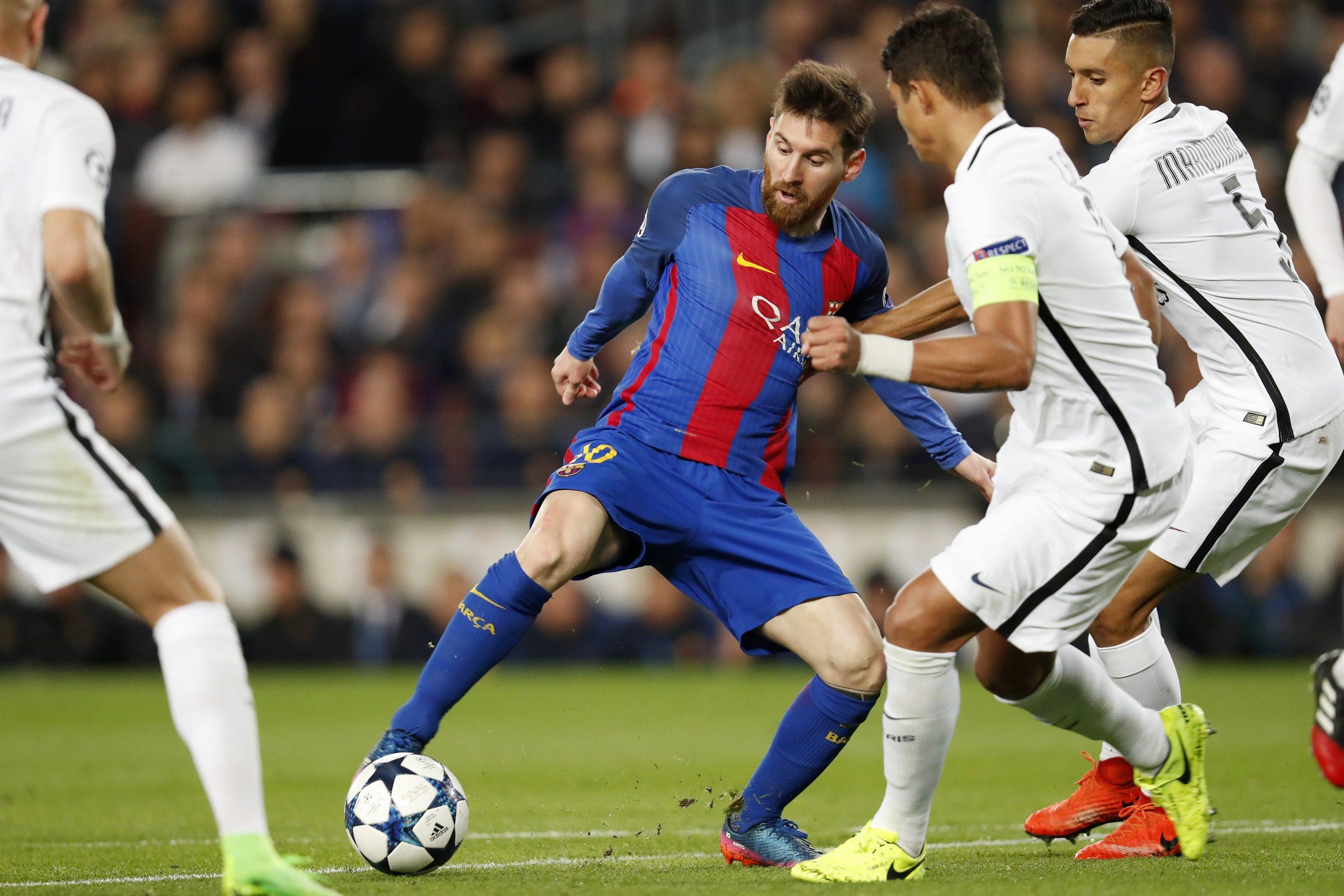 Messi vs Thiago Silva y Marquinhos