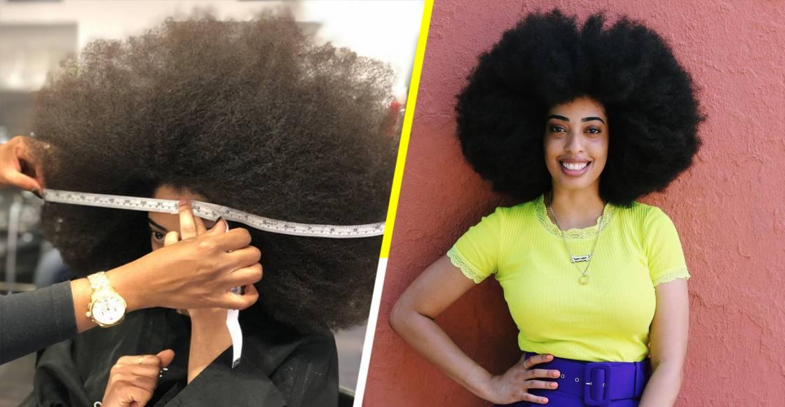 Ella es Simone Williams, ganadora del Récord Guinness al afro más grande del mundo