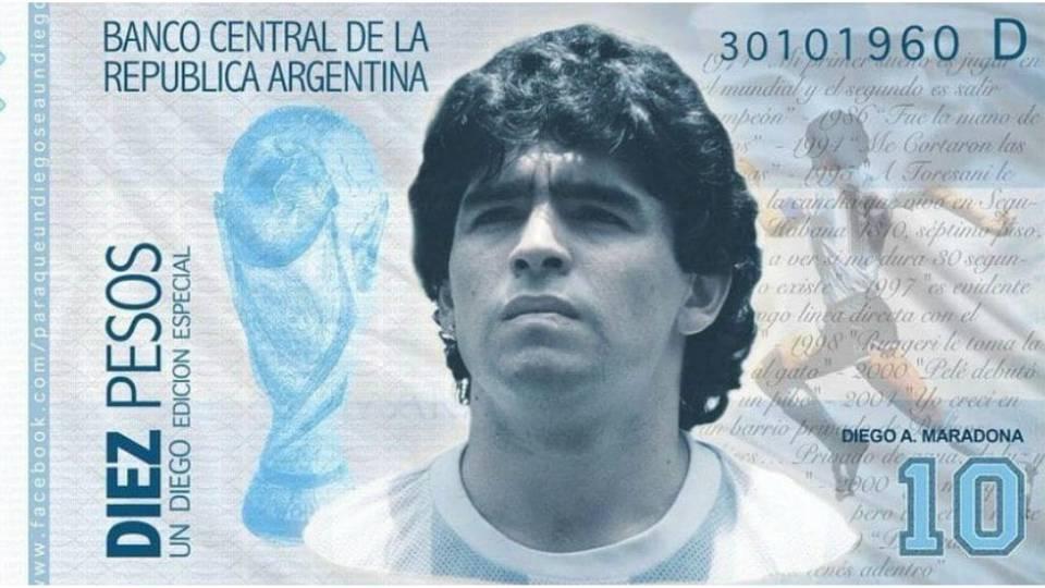 Maradona billete argentina diez pesos
