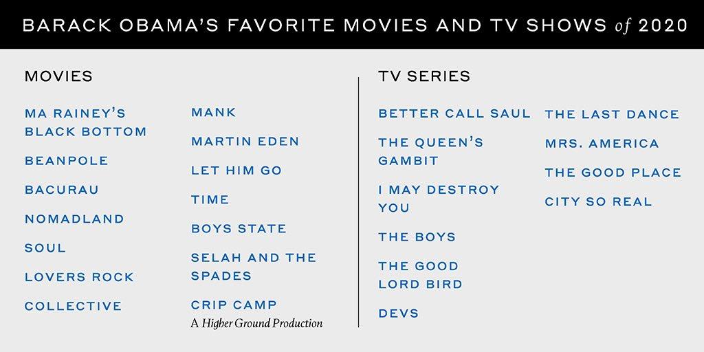 Barack Obama dio a conocer sus canciones, películas y series favoritas del 2020
