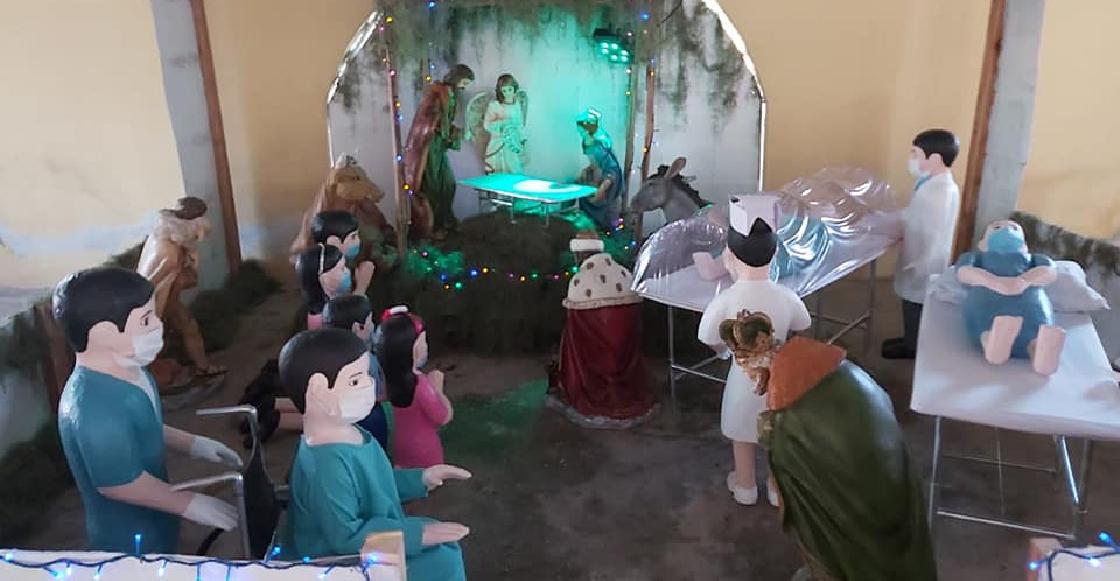 Navidad en tiempos del COVID: Iglesia de Tabasco incluye al personal médico en su nacimiento