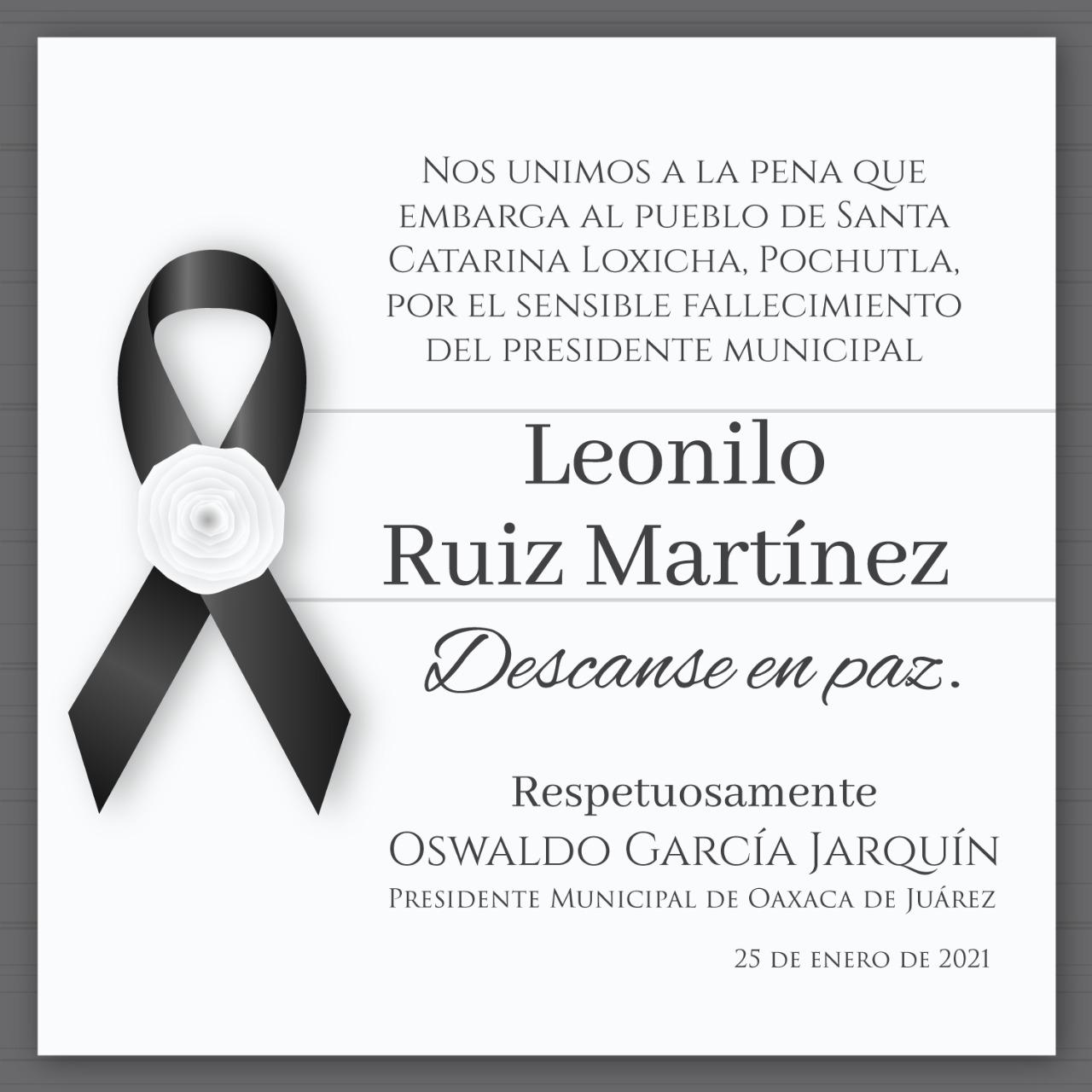 Leonilo Ruiz Martínez oaxaca alcalde COVID