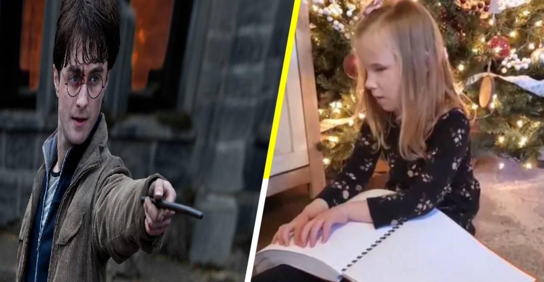 La emotiva reacción de una niña invidente al recibir los libros de Harry Potter en braille