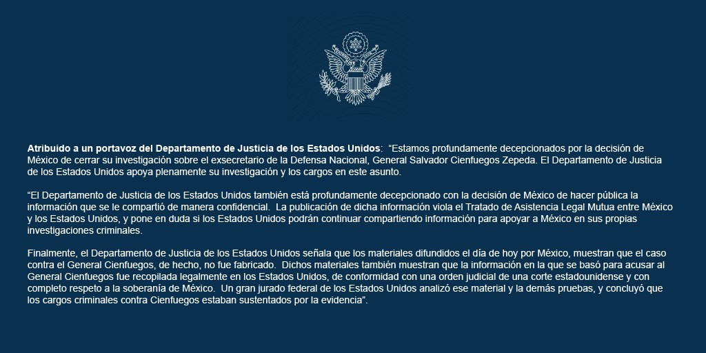 El duro mensaje del Departamento de Justicia de EU por Cienfuegos