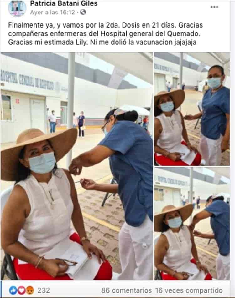 """Regidora de Morena en Acapulco """"presume"""" que ya recibió la vacuna contra COVID-19"""