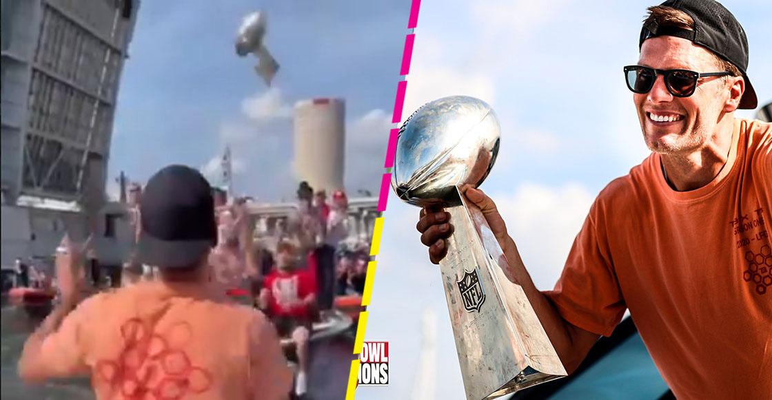 Tom Brady lanza el trofeo Vince Lombardi de bote a bote