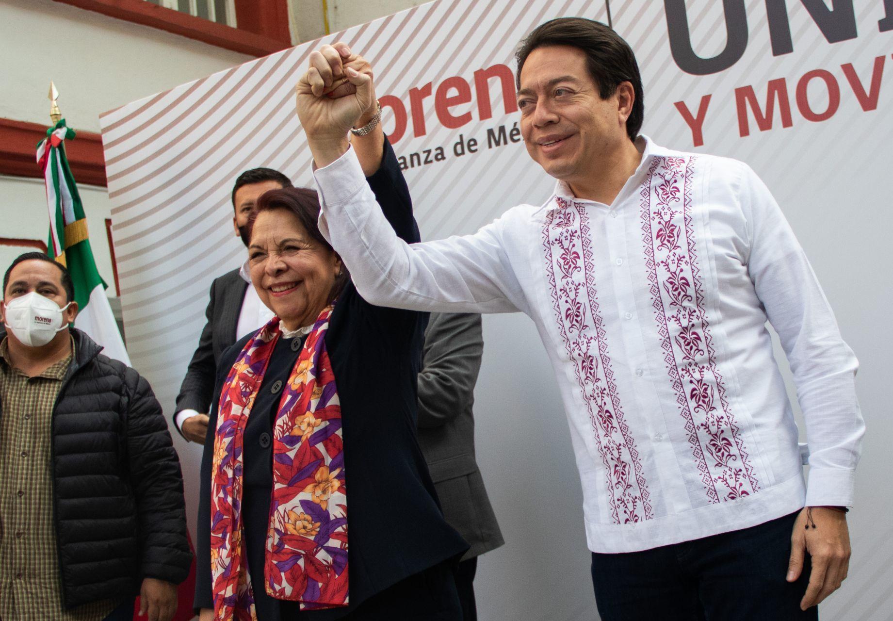 CIUDAD DE MÉXICO, 17DICIEMBRE2020.- Mario Delgado dirigente Nacional de Morena, anunció la candidatura de Celia Maya al Gobierno de Querétaro, esta tarde en la sede del Movimiento de Regeneraciñon Nacional.