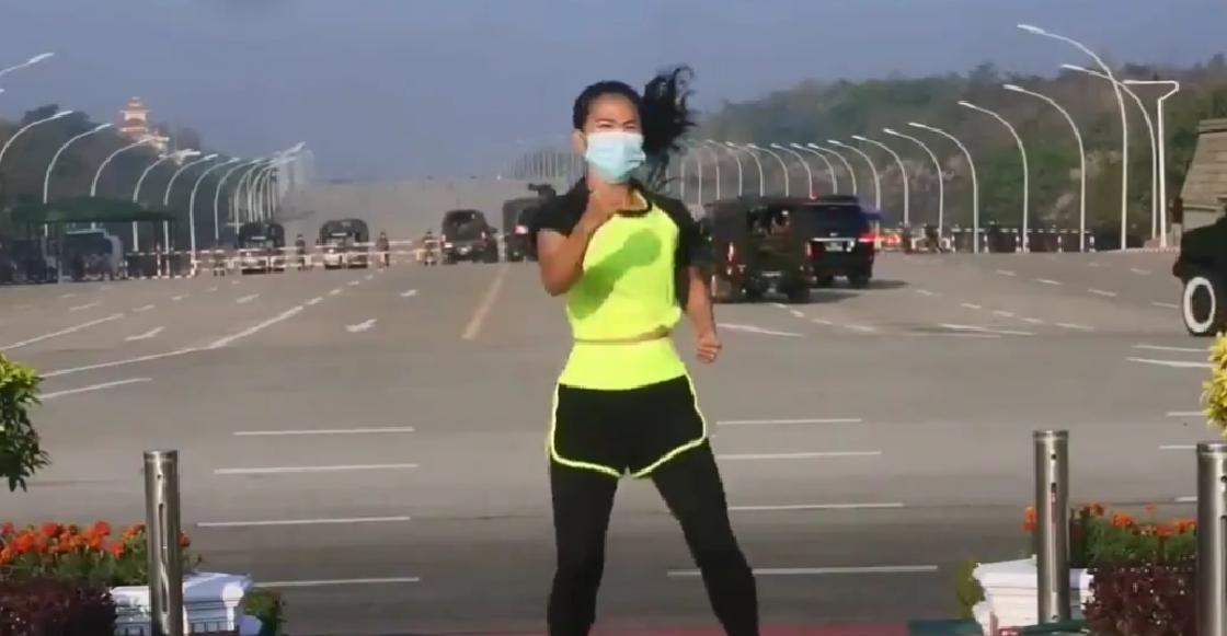 Mujer se hace viral por hacer aerobics mientras se daba el Golpe de Estado en Myanmar