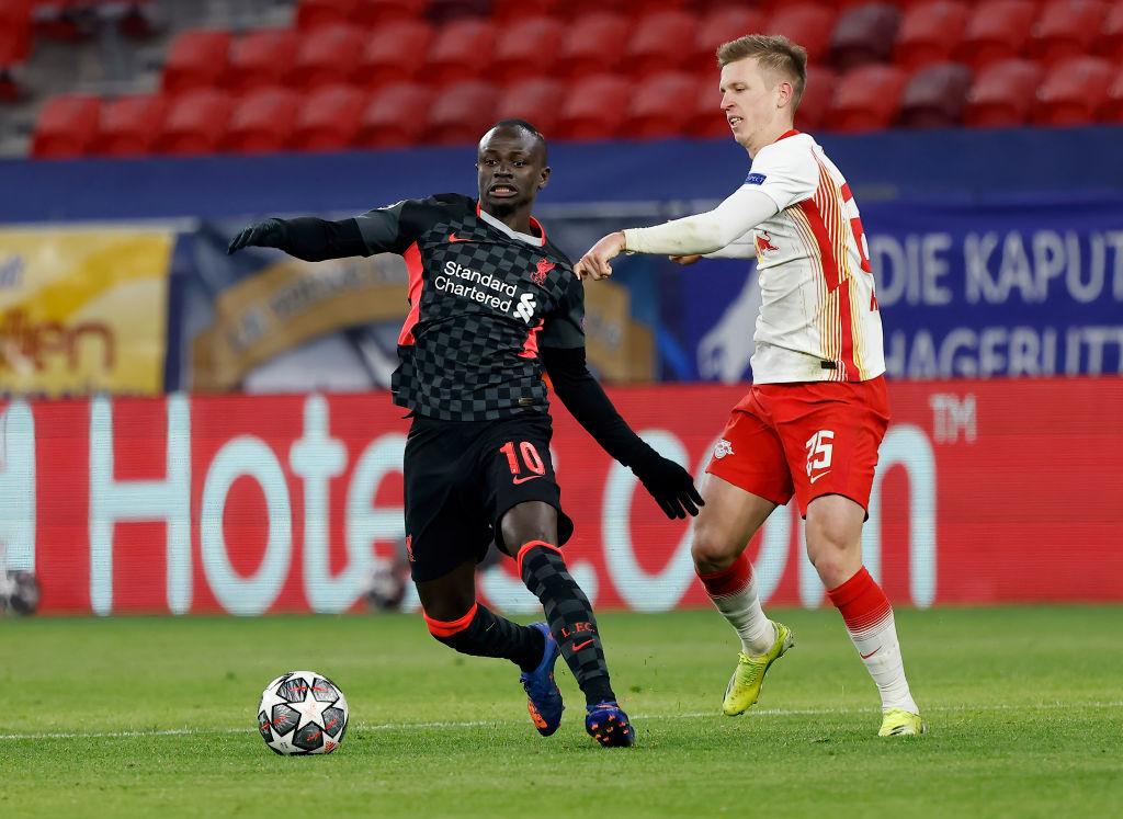 Sadio Mane en contra del Leipzig en la Champions League