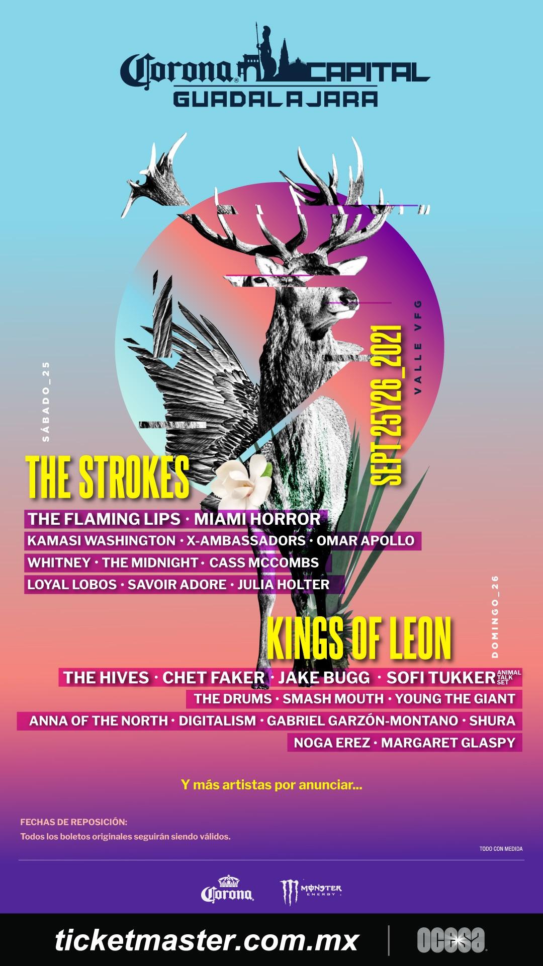 The Strokes, Kings of Leon y The Hives estarán en el Corona Capital Guadalajara 2021