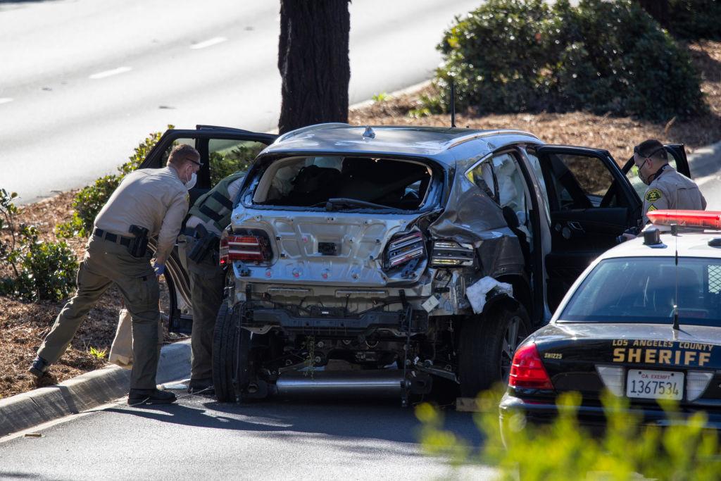 Vehículo de Tiger Woods tras el accidente