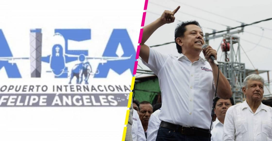 Candidato de Morena defiende el logo del Aeropuerto de Santa Lucía