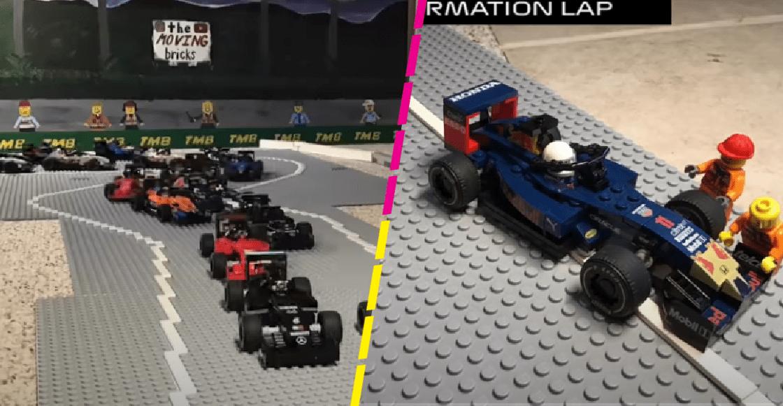 Recrean el Gran Premio de Baréin con legos con todo y el drama de Checo Pérez