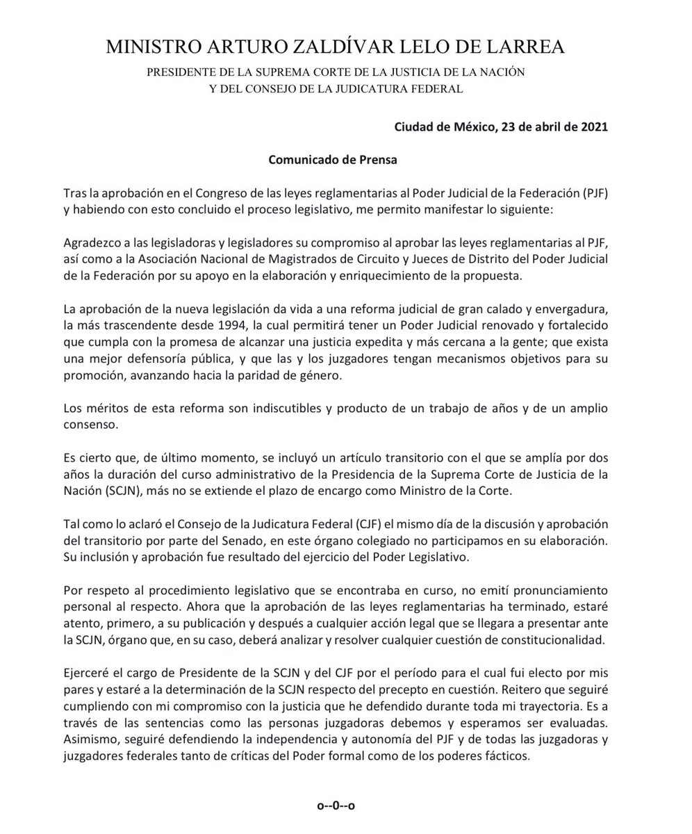 ministro-zaldivar-respuesta-ampliacion-mandato-2-anos-scjn