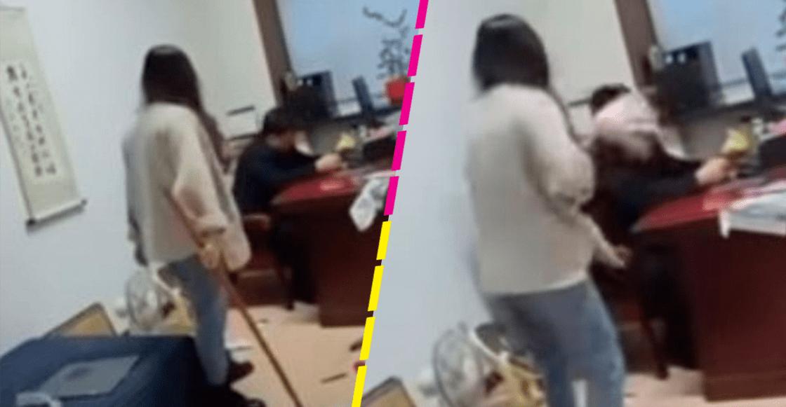Mujer golpea con un trapeador a su jefe por presunto acoso sexual