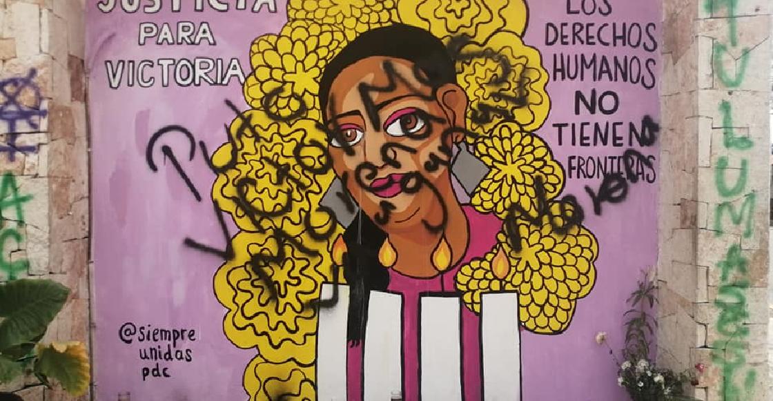 Vandalizan con pintas el mural de Victoria Salazar, migrante asesinada por policías en Tulum