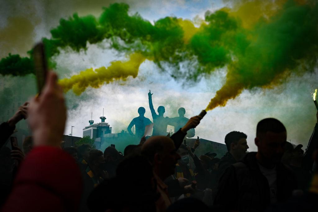 Protestas en Old Trafford, estadio del Manchester United