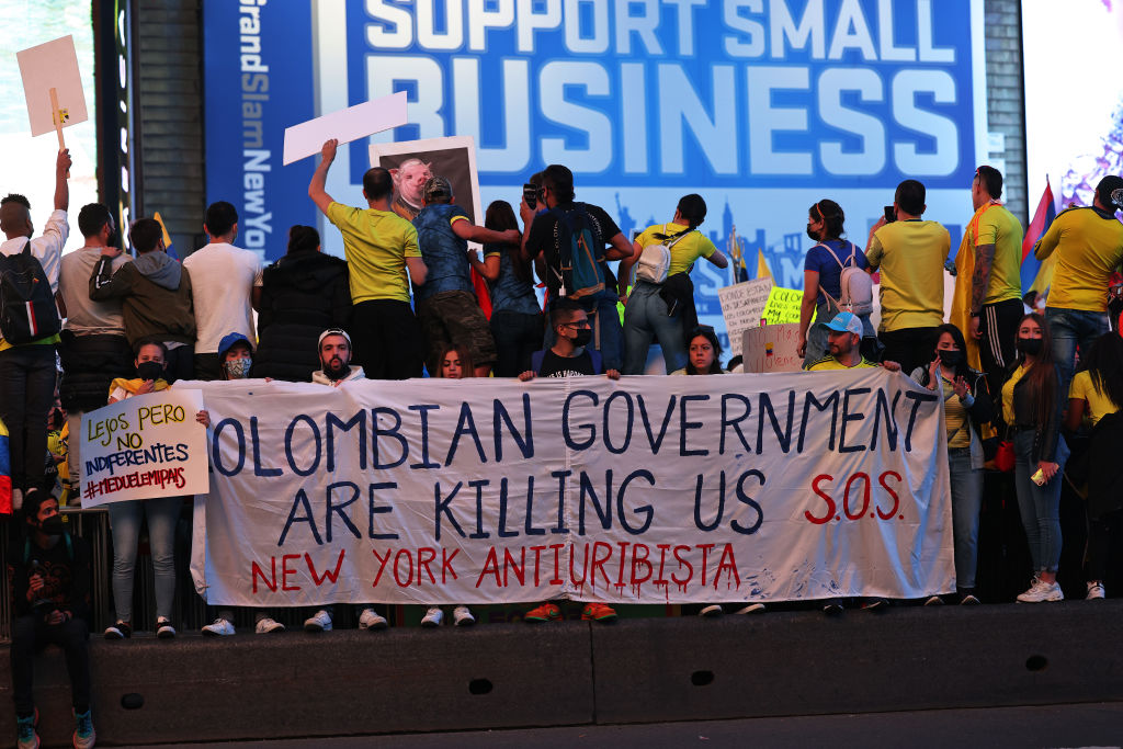 Colombia protests against the European Union in New York