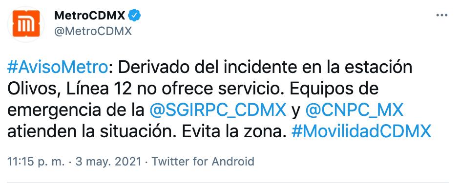 Colapsa Línea 12 del Metro CDMX