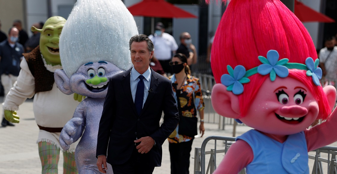 California Governor Gavin Newsom arrives to hold a news conference at Universal Studios Hollywood in Universal City, Los Angeles, California, U.S. June 15, 2021.