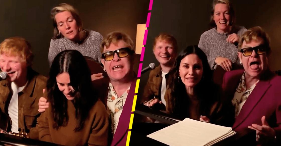 "Momentazo: Courteney Cox, Elton John y Ed Sheeran le cantan ""Tiny Dancer"" a Lisa Kudrow"