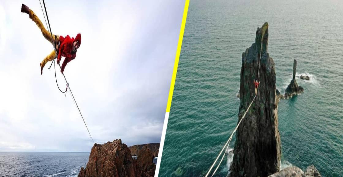 Alexander Schulz es el primer hombre en caminar en la cuerda floja a 76 metros sobre el mar