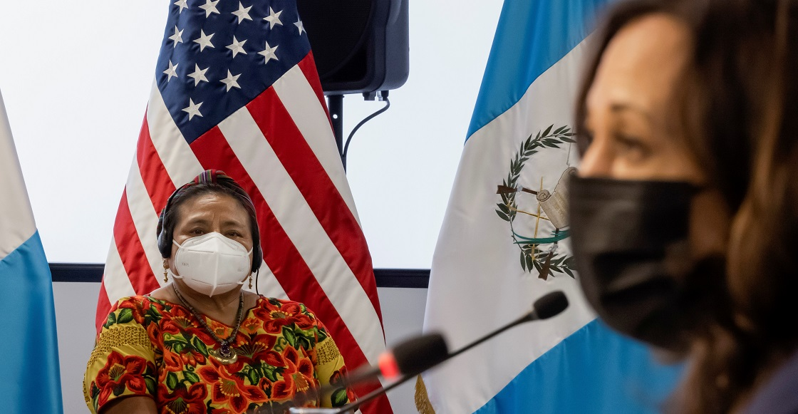 Nobel Peace Prize and member of the Indigenous Women's Platform Rigoberta Menchu and U.S. Vice President Kamala Harris participate in a roundtable with members of the Guatemalan community and civil society leaders at the Universidad del Valle de Guat