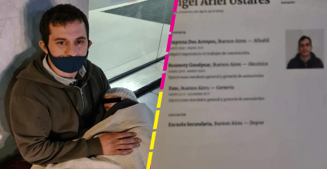 Padre de familia sale a repartir su currículum vitae con su bebé en brazos y se vuelve viral