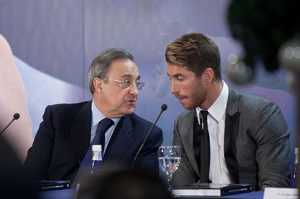 Sergio Ramos y el presidente del Real Madrid, Florentino Pérez