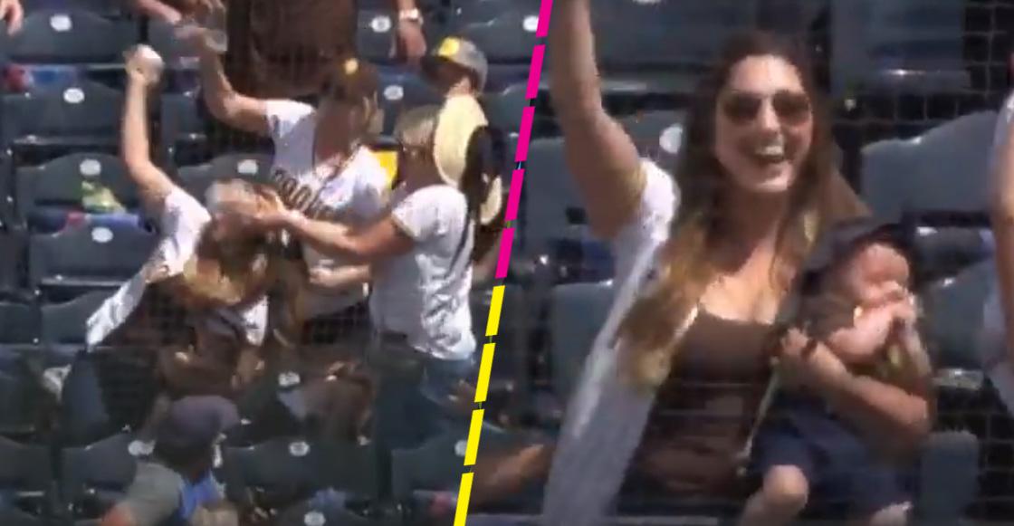 ¡Súper Mamá! Mujer atrapa una pelota a una mano con todo y su hijo en brazos en la MLB