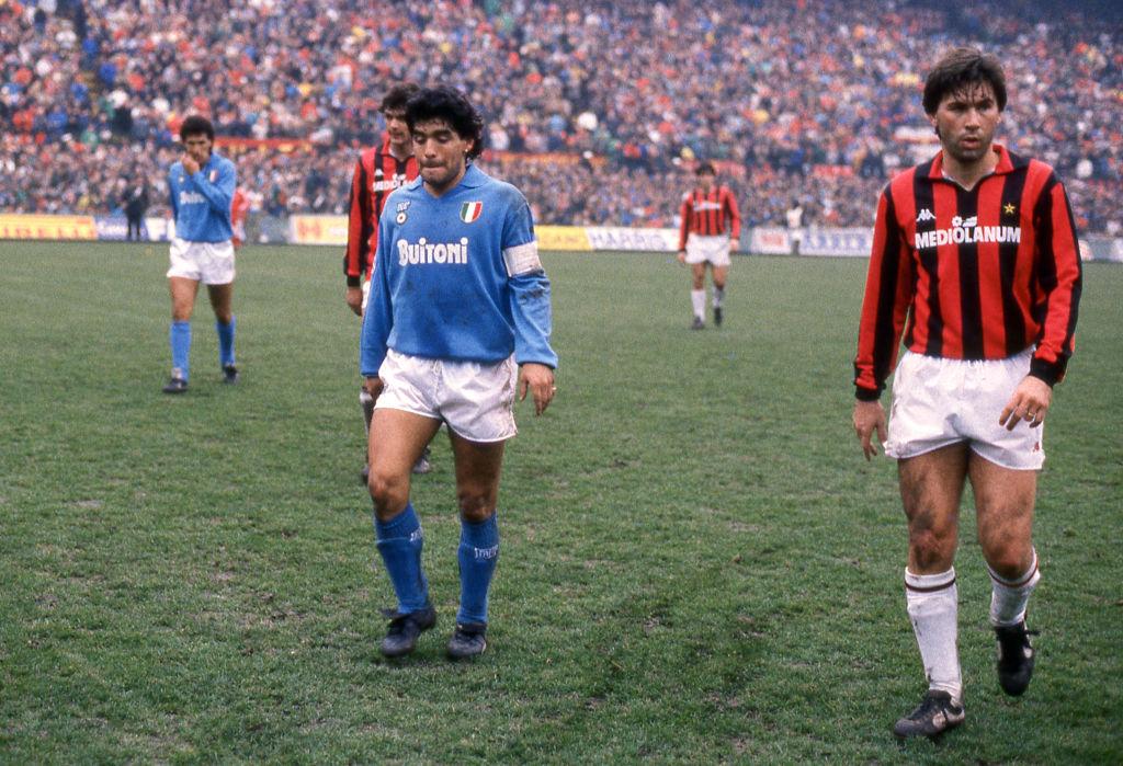 Diego Armando Maradona y Carlo Ancelotti