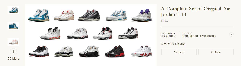 Colección de Air Jordan en subasta