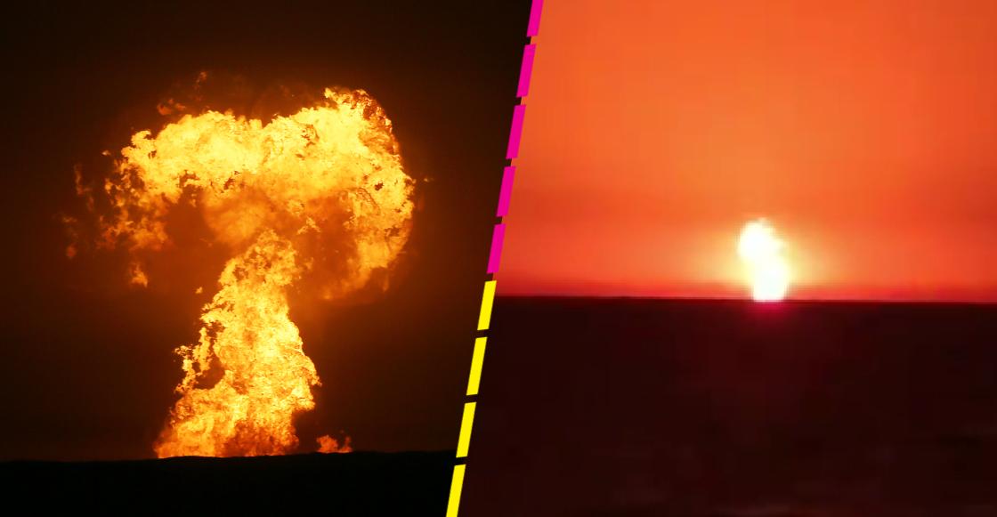 Checa las imágenes de la impresionante explosión captada en el Mar Caspio; al parecer fue un volcán