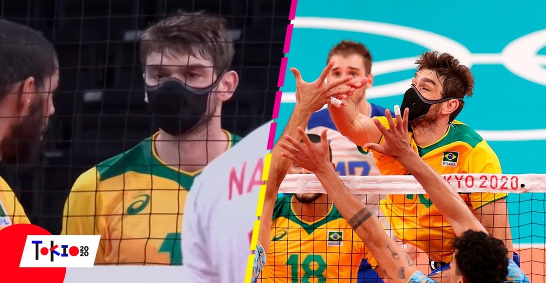 Lucas Saatkamp y Mauricio Borges, los brasileños que participan en el voleibol de Tokio 2020 con cubrebocas