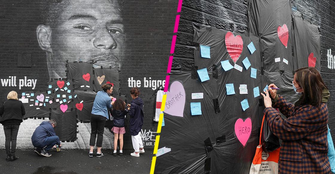 Aficionados cambian los ataques racistas por palabras apoyo al vandalizado mural de Marcus Rashford
