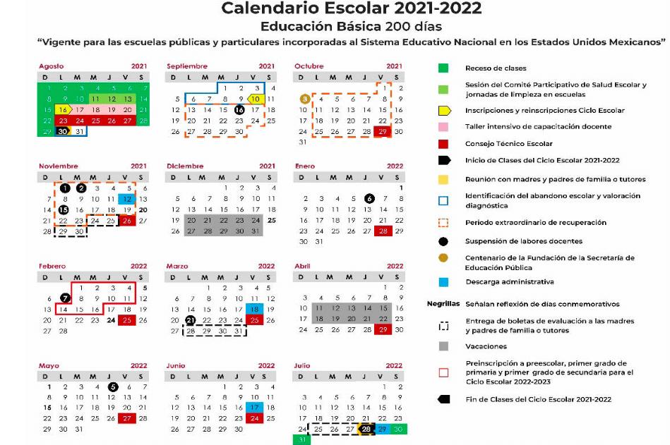 calendario-sep-ciclo-escolar-2021-2022