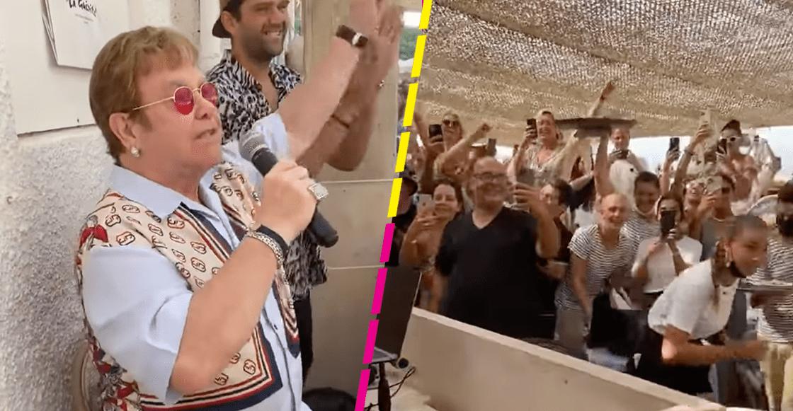 ¡Rifado! Elton John sorprende a los clientes de un restaurante echándose un palomazo